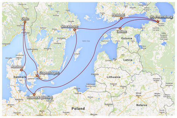 Baltic Cruise Map Baltic Cruise Adventure Pinterest - Baltic cruises 2015