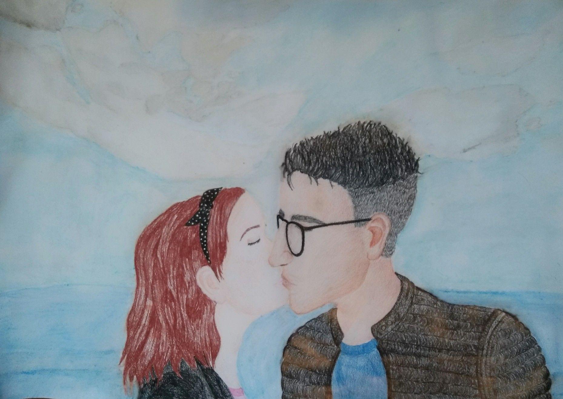 Aquarell Draw Jaxon Chalk Kiss Sea Redhair Bluesky Love