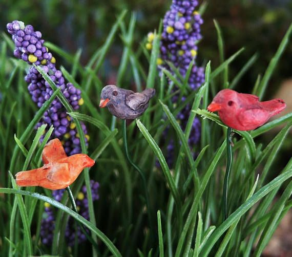 Set Of 3 Colorful Miniature Bird Garden Picks In Red