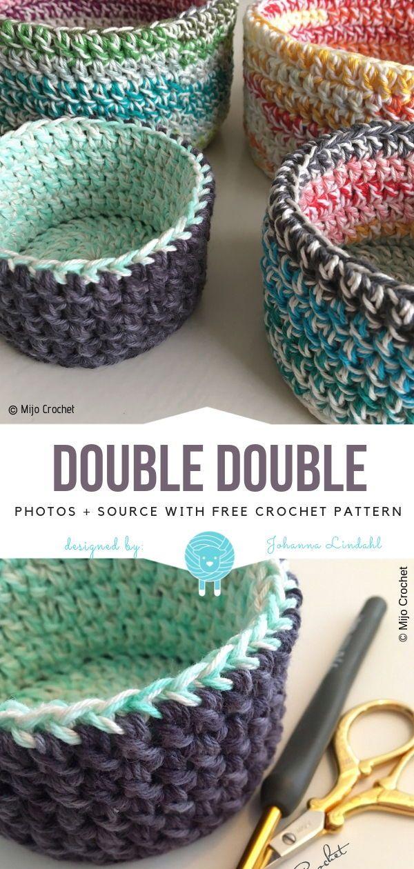 Grands modèles de paniers au crochet gratuits   – Knitting 2