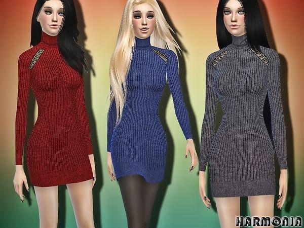 Wool Sweater Dress by Harmonia at TSR via Sims 4 Updates