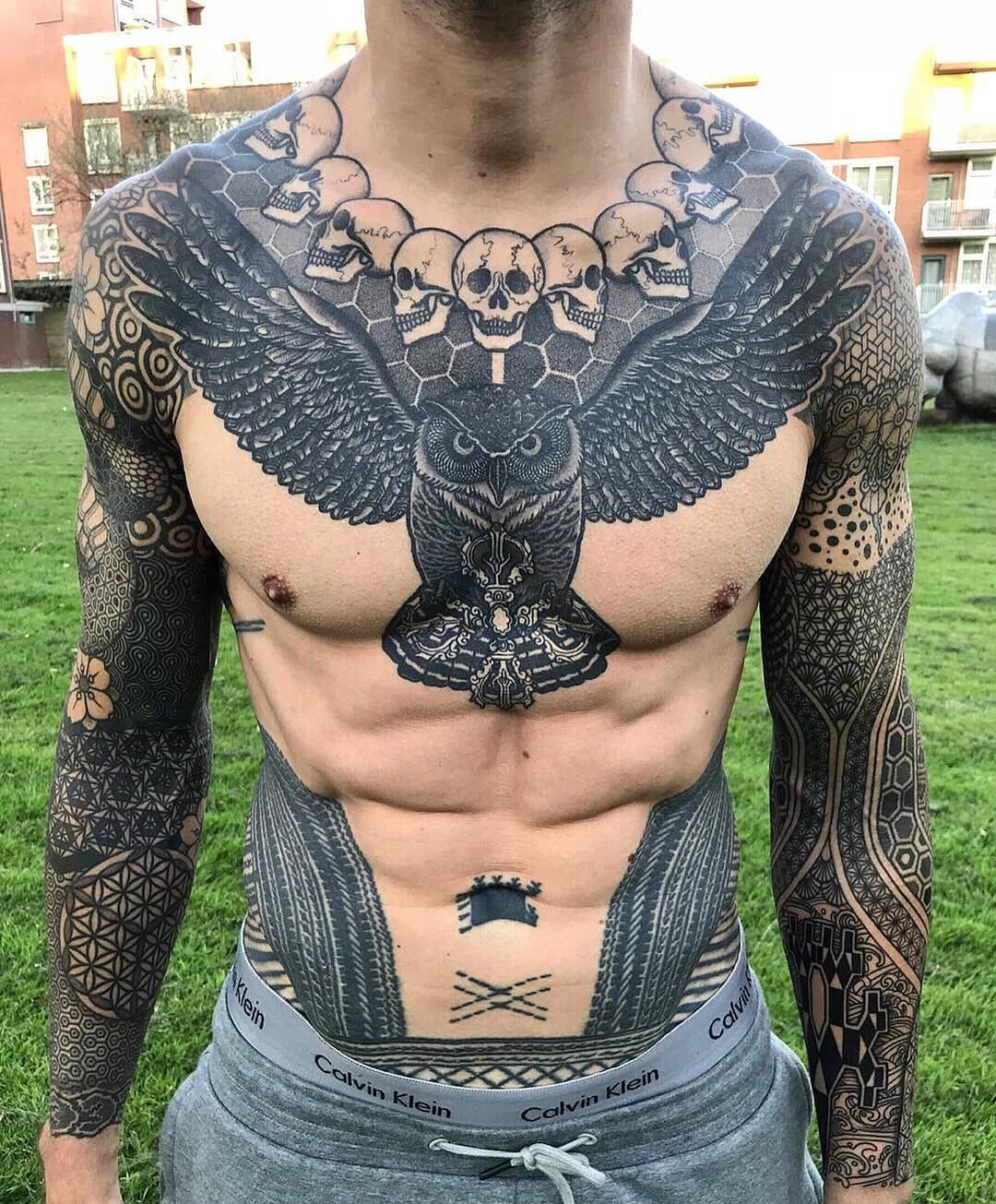 Art by nissaco… Cool chest tattoos, Chest tattoo men