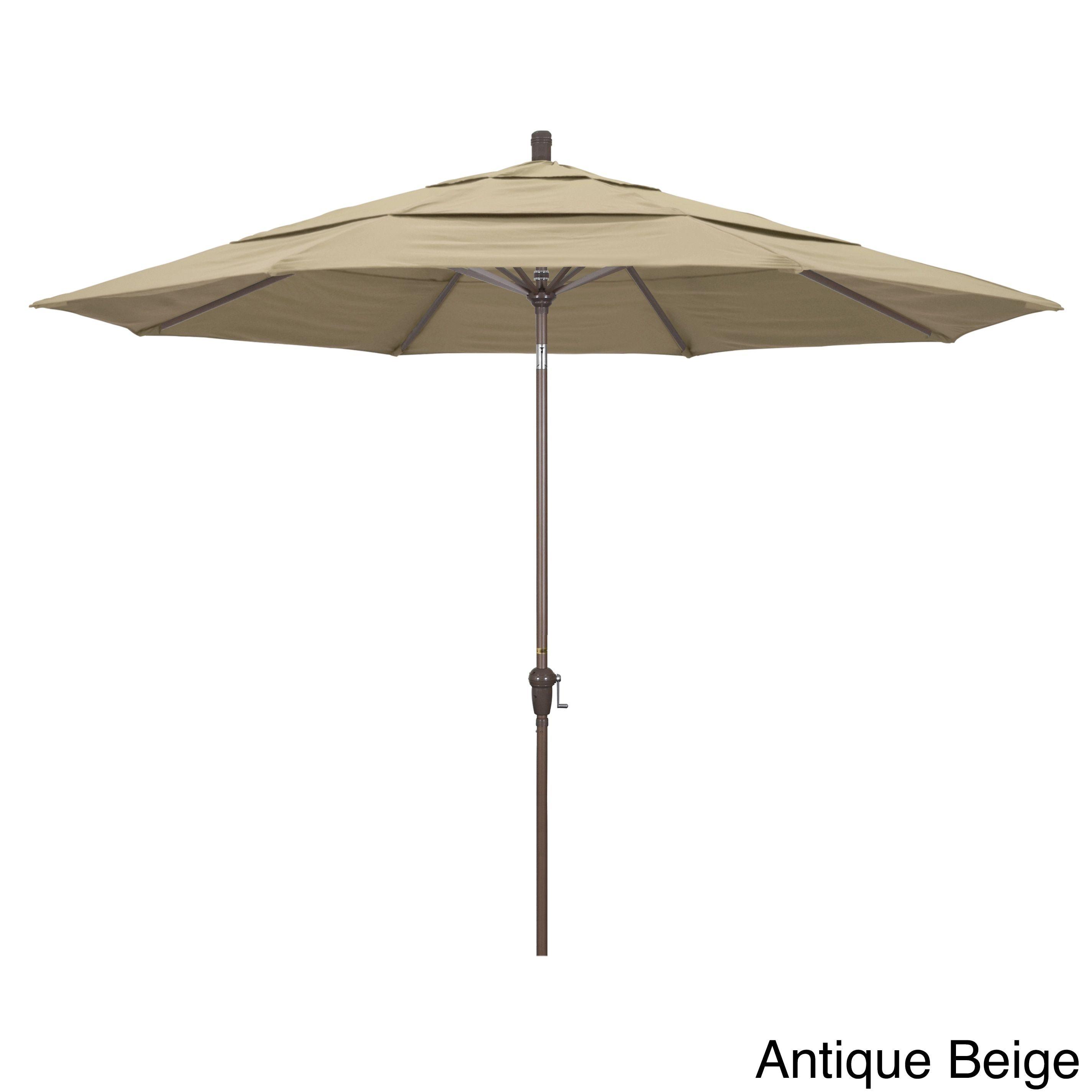 California Umbrella 11' Rd. Crank Open Auto Tlit Market Umbrella, Champagne Finish, Double Wind Vent, Sunbrella Fabric