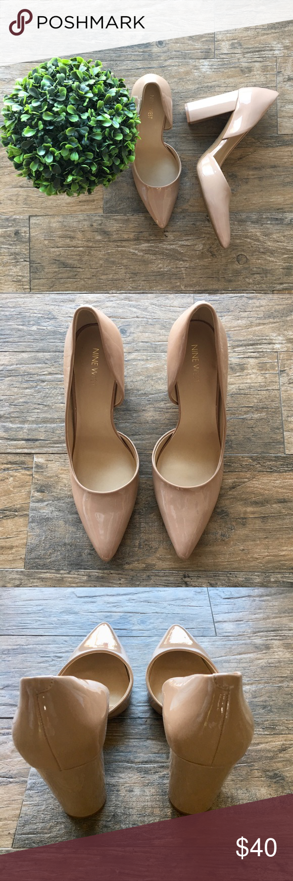 "df2ccd60a8 NEW Nine West Anisa d Orsay Block Heel Pump New Without Tags Size 11""  Pointed Toe, Patent faux Leather Block heel:3.75"" Nine West Shoes Heels"