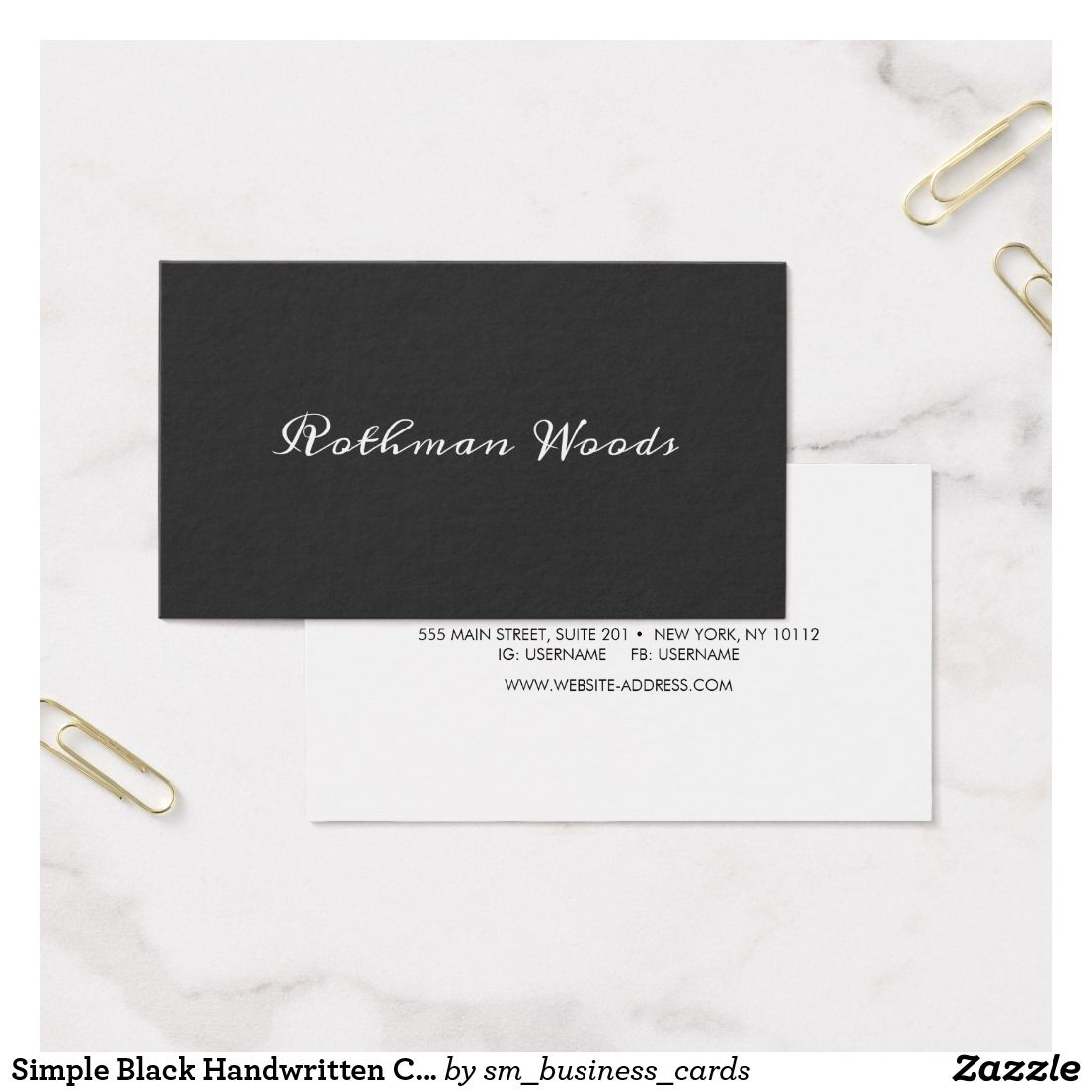 Simple Black Handwritten Calligraphy Business Card | Business ...