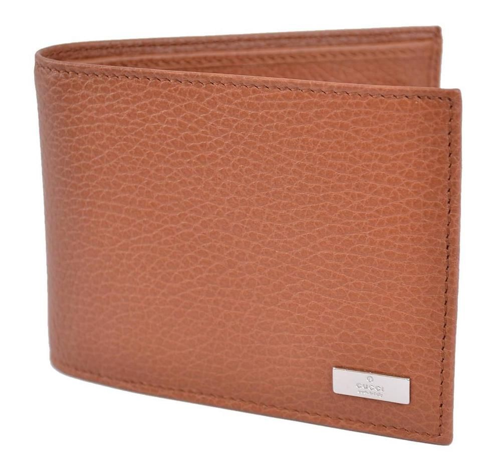 a8860413c50 NEW GUCCI MEN S 143384 TAN BROWN CALF LEATHER BIFOLD LOGO COIN POCKET WALLET   Gucci  Bifold
