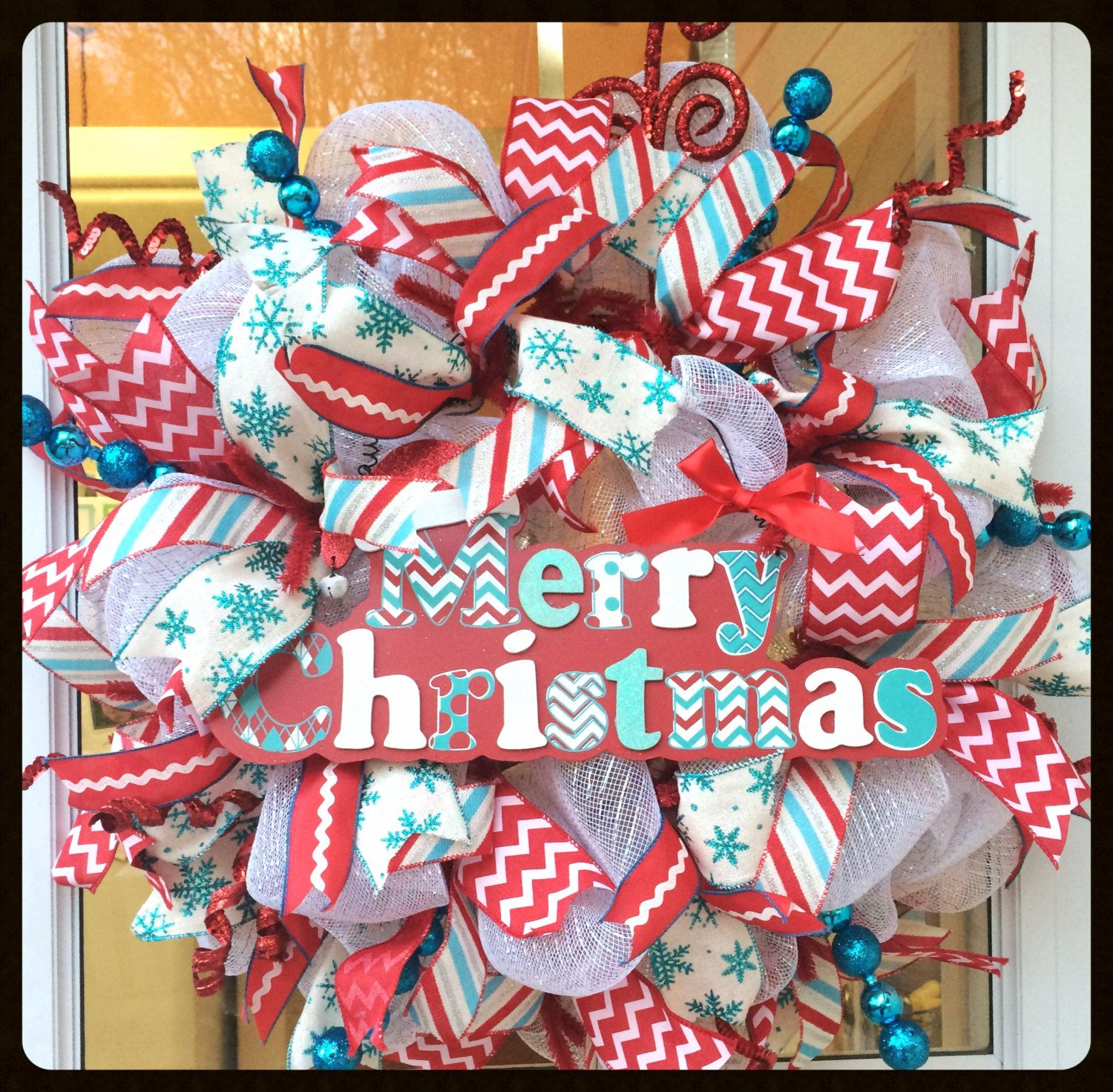 Red Turquoise Not Just For Holiday Decor: Extra Large Deluxe Red & Turquoise Merry Christmas Wreath