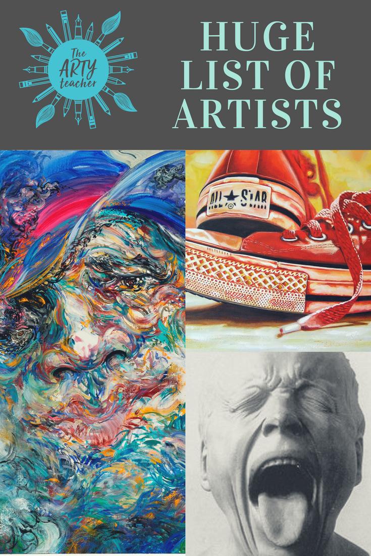 A huge list of artists listed by theme created for Art Teachers by The Arty Teacher