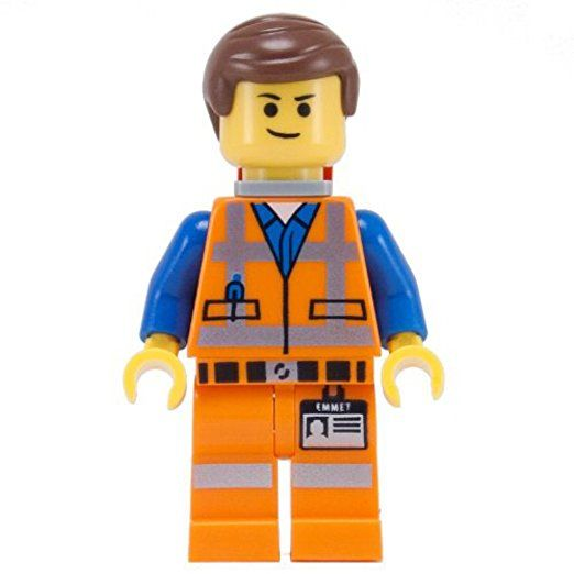 LEGO Movie Emmet Minifigure with double-sided face (smirk + bewildered) and Piece of Resistance