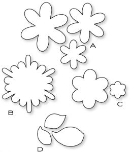 Papertrey Ink-Frilly Flowers Die Collection (set of 4