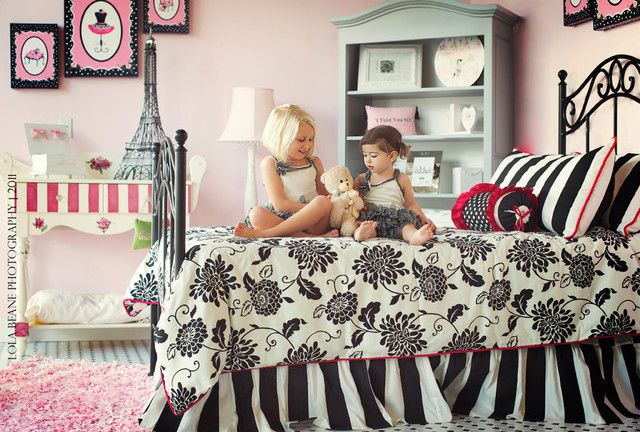 Pink Black And White S Bedroom Paris Theme Contemporary Kids Miami By Palm Beach Tots