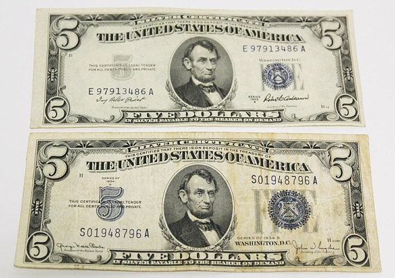 1934 1953 US Mint 5 Five Dollar Silver Certificate Note Bill Blue ...