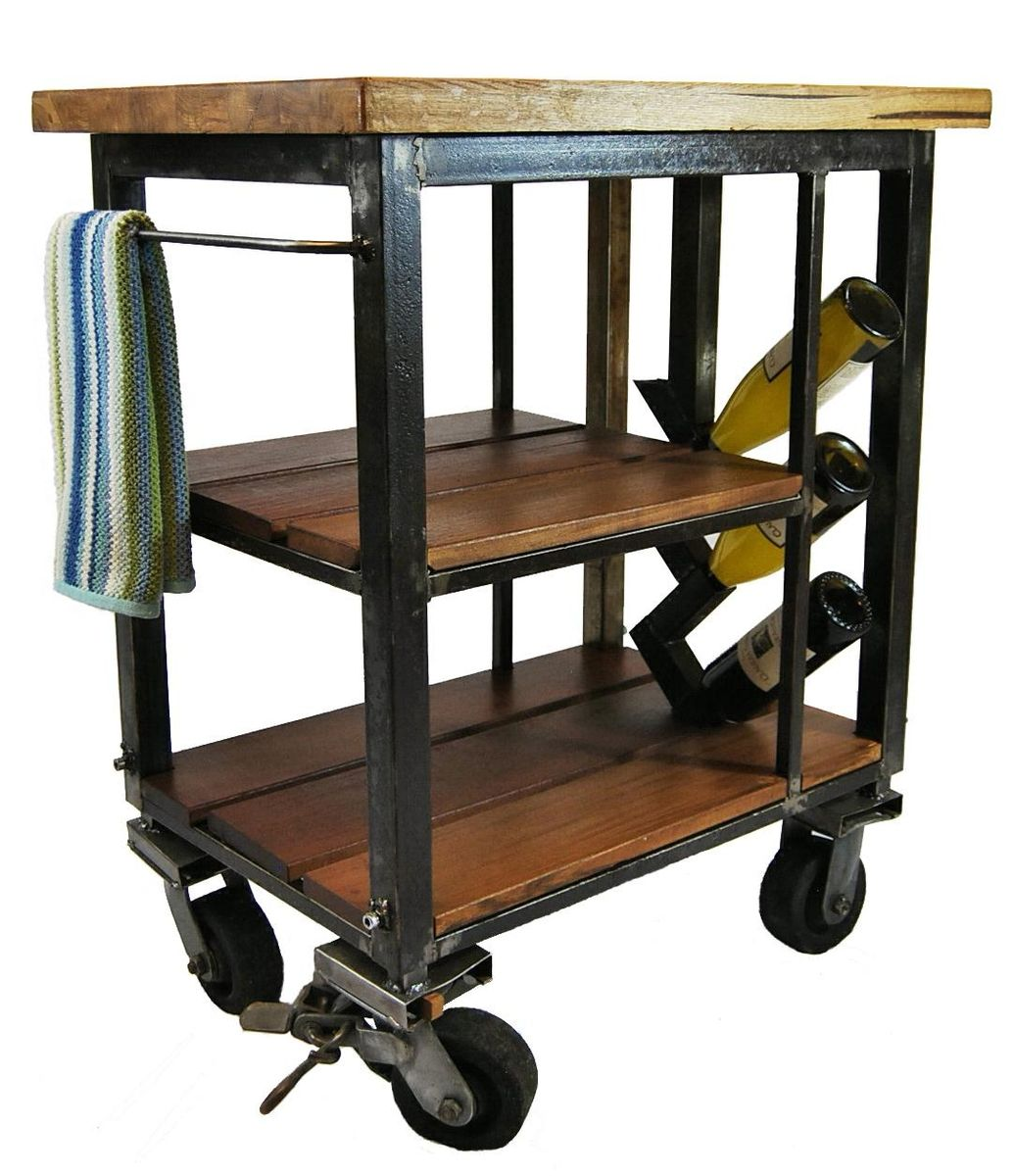 Butcher Block Kitchen Carts Wheels : Napa kitchen cart made from reclaimed butcher block and steel. Built with wheels and a wine rack ...