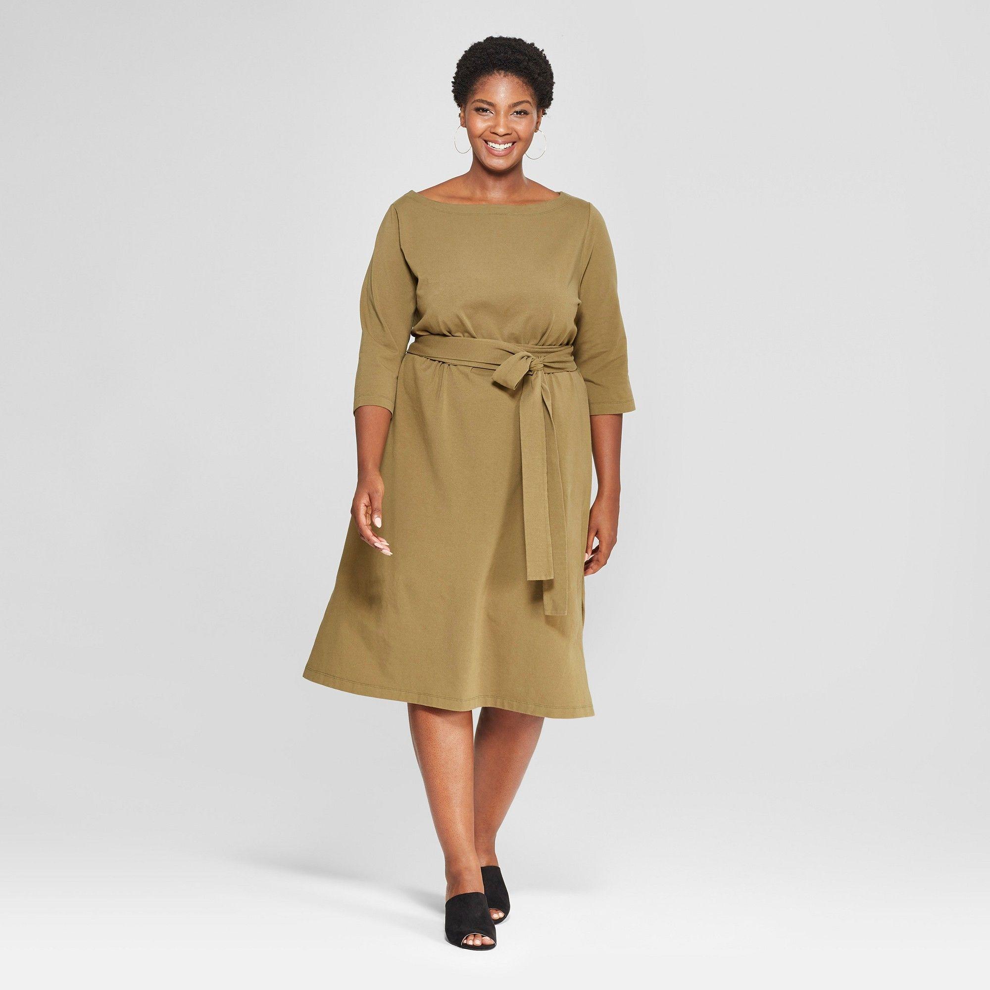 Womenus plus size midi wrap dress ava u viv olive green x