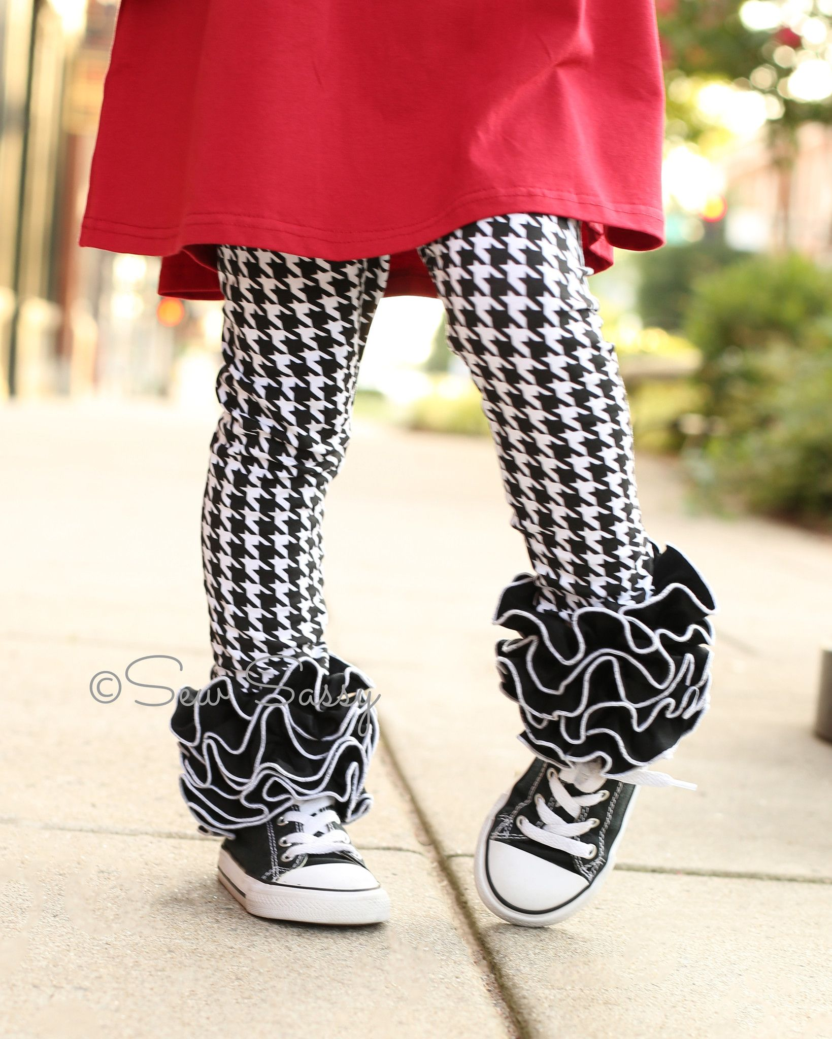 949213cdb87f9a Homecoming Houndstooth Icings – Sew Sassy Boutique, LLC Ruffle leggings