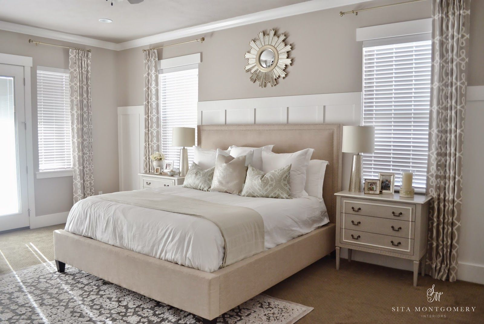 Wainscoting master bedroom - Sita Montgomery Interiors My Master Bedroom Refresh Reveal Fresh Colors White Wainscoting Focal Mirror