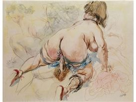 Artwork by George Grosz, Erotic Drawing II, CA, Made of Watercolour, pen and ink on paper