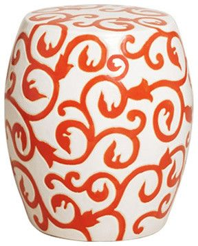 Orange and White Ceramic Garden Stool traditional outdoor