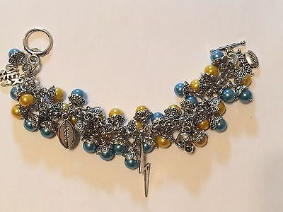 San Diego Chargers Blue & Yellow Inspired Football Charm Bracelet Handmade