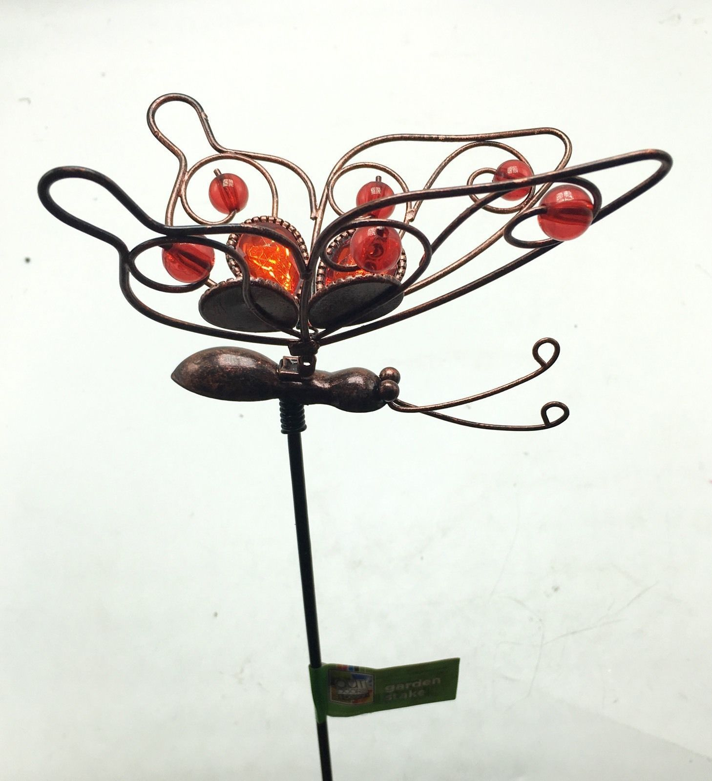 Butterfly With Red Glass Metal Garden Stake Yard Art Outdoor New