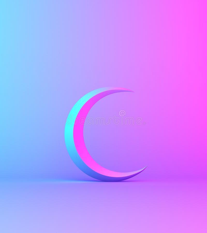 Crescent Moon On Pink Blue Gradient Background Studio Lighting Copy Space Text Sponsored Studio Back Gradient Background Background Pink Nursery Decor