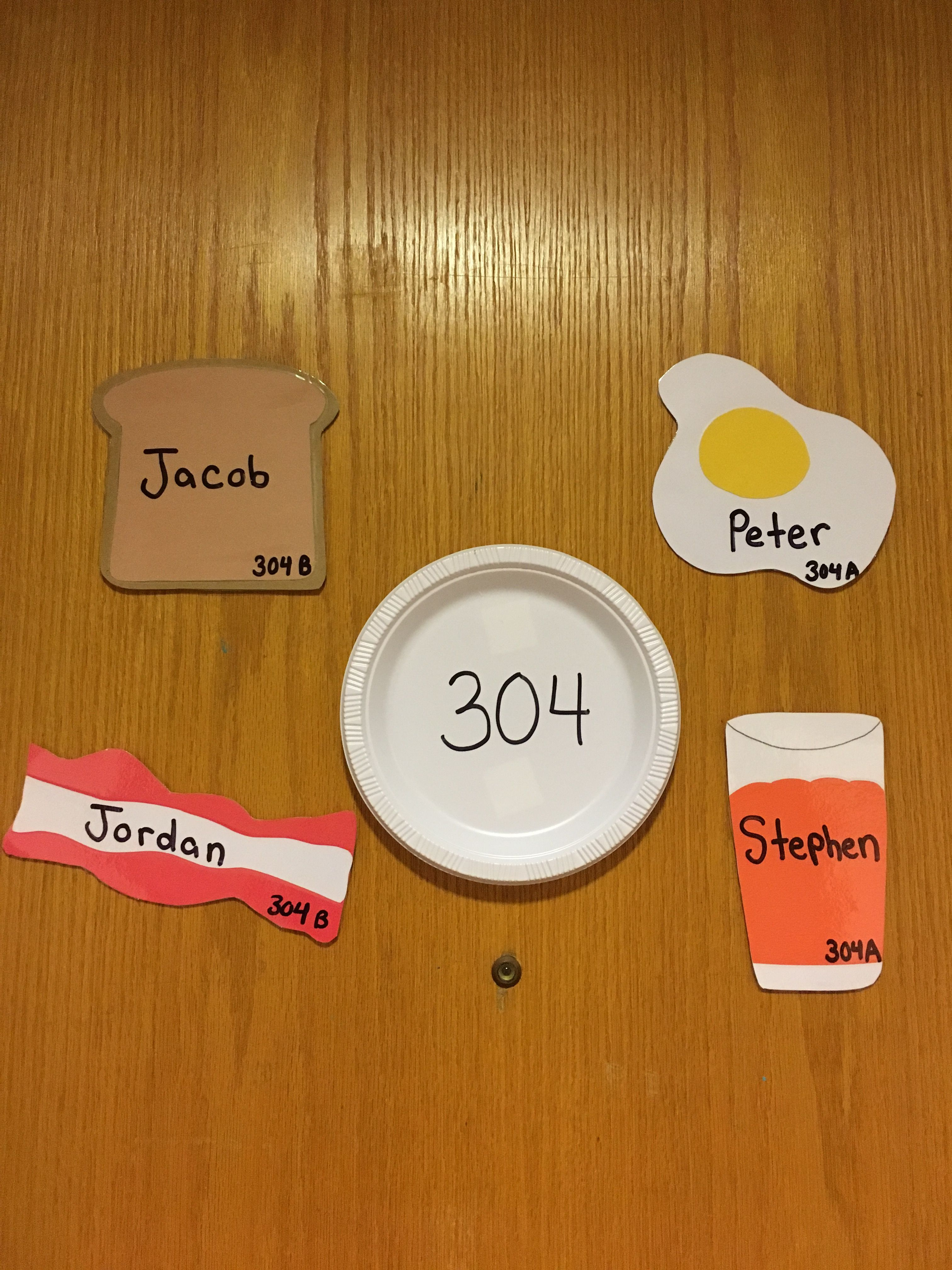 Breakfast Food Door Decs Resident Assistant Oakwood 302 Ra Door