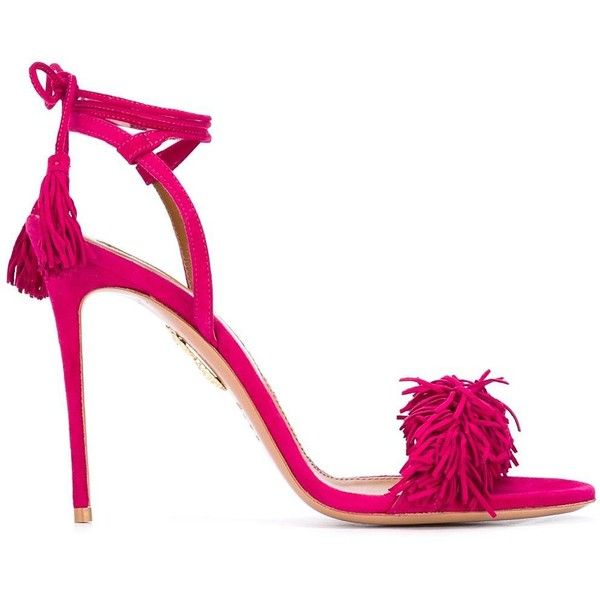 Aquazzura 'Wild Thing' sandals (50.165 RUB) ❤ liked on Polyvore featuring shoes, sandals, pink, leather shoes, pink sandals, pink shoes, aquazzura and aquazzura shoes