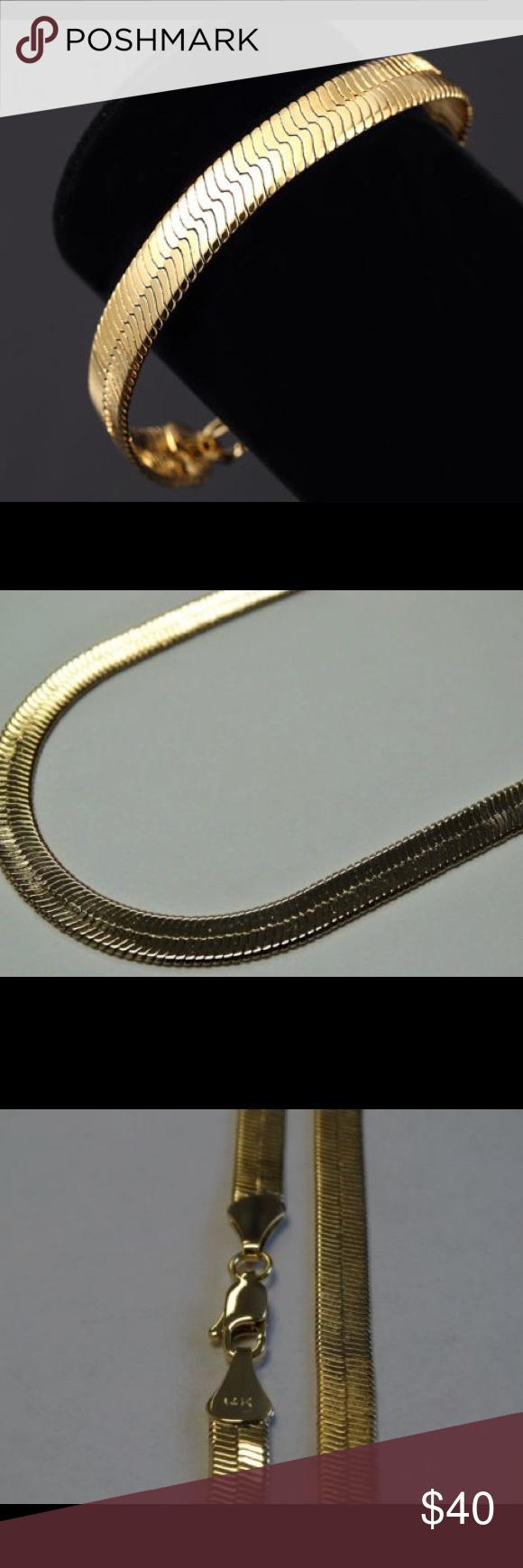 Mens k gold plated in herringbone bracelet nwt herringbone