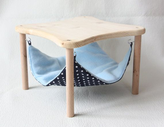 Hammock Holder With 1 Hammock Darkblue With White Dots For Guinea