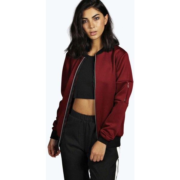 Satin Comfort Bomber Jacket ($88) ❤ liked on Polyvore featuring ...