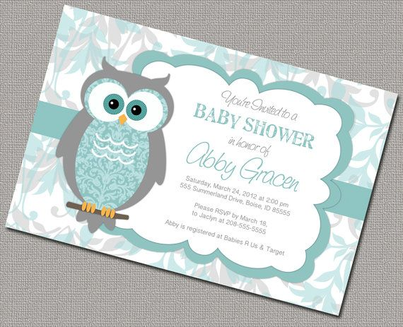 Gender neutral baby shower invites owl invitations turquoise and neutral owl baby shower invitations neutral diy printing by a little treasure solutioingenieria Choice Image