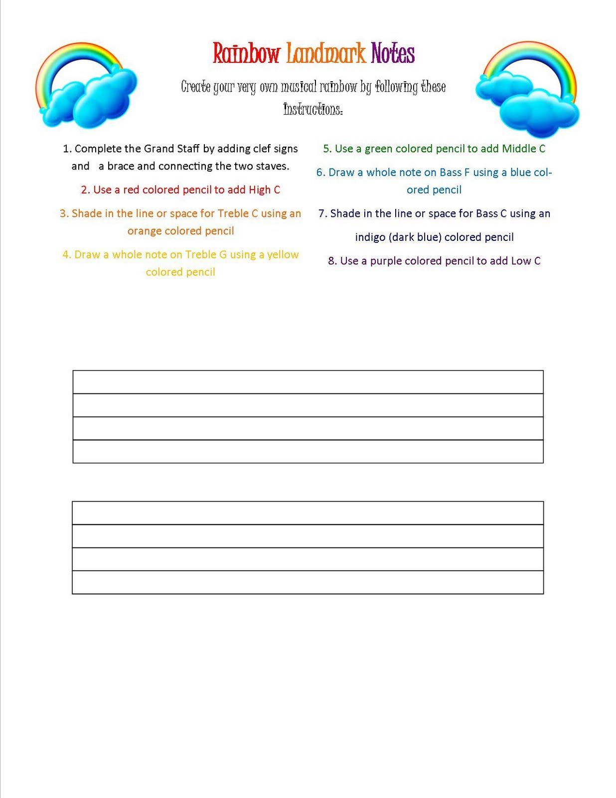 Rainbow Landmark Note Worksheet