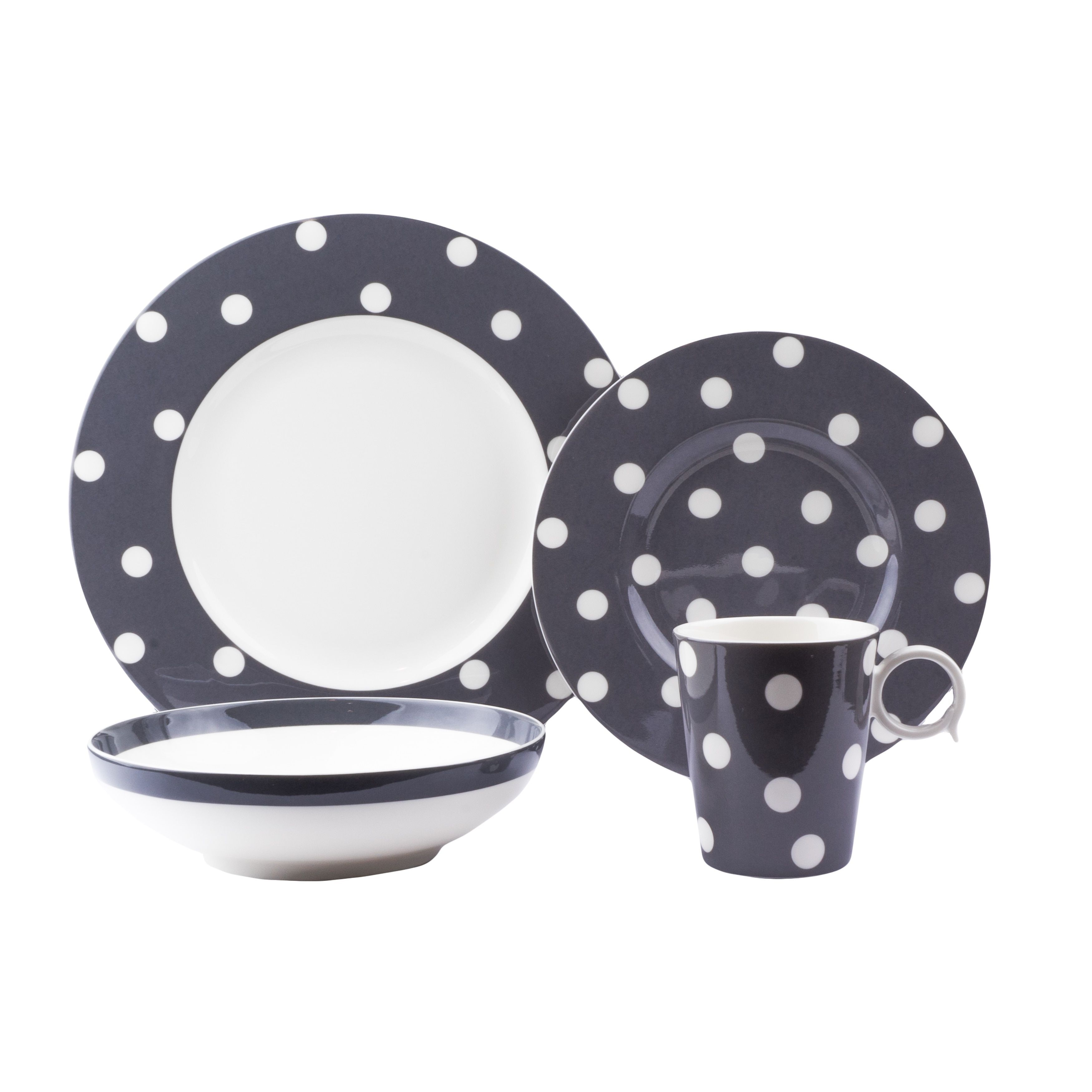 Red Vanilla Freshness Dots Grey Porcelain 16-piece Dinner Set (Red Vanilla Freshness Dots Grey 16Pc Dinner set)