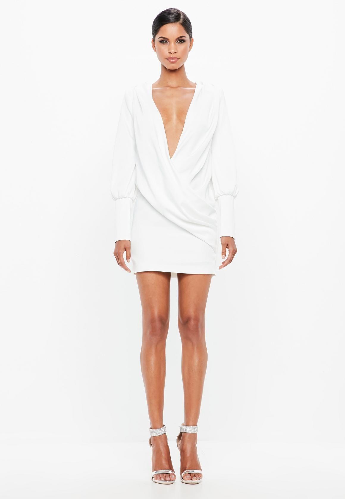 Missguided Peace Love White Wrap Over Cowl Neck Dress Women Dress Online Slinky Mini Dress Skater Dresses Casual [ 1680 x 1160 Pixel ]
