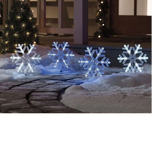 Snowflakes Stakes Pathway Markers Lawn Sidewalk Christmas Outdoor Decor Yard Christmas Pathway Lights Outdoor Christmas Lights Outdoor Christmas Decorations