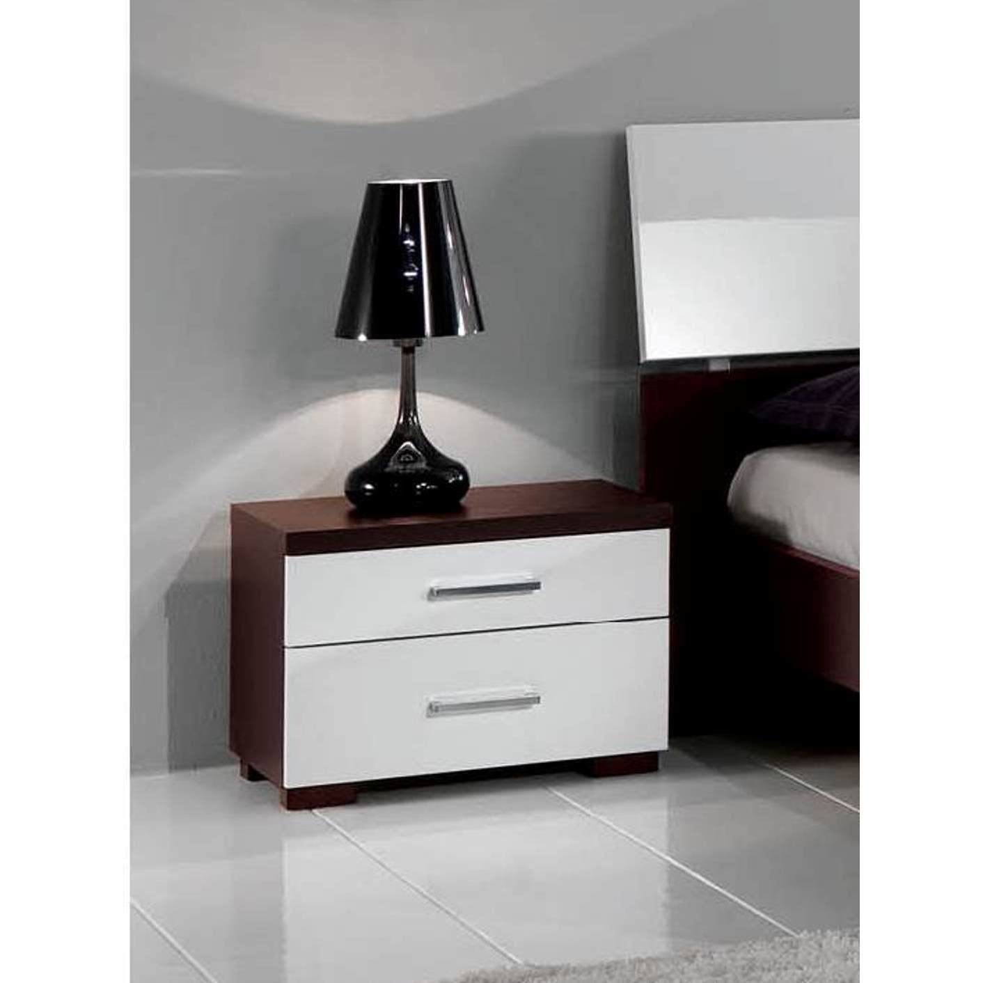 Luca Home Wenge/White Nightstand (Luca Home Nightstand Wenge/White), Brown, Size 2-drawer