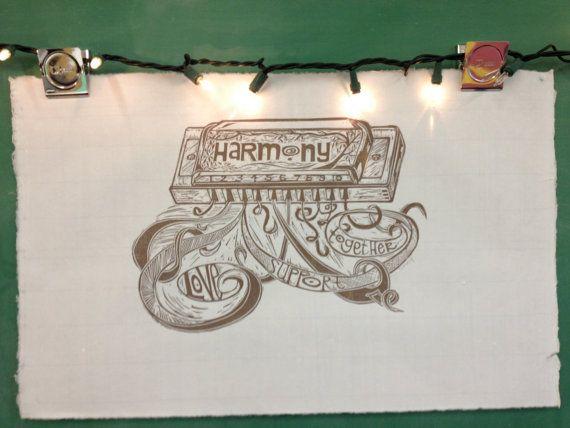 Harmonica Harmony Print by block21prints on etsy by Block21Prints, $30.00