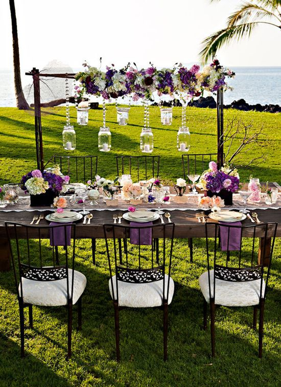 Elegant table hanging decor tablescapes and elegant for Garden tea party table decorations