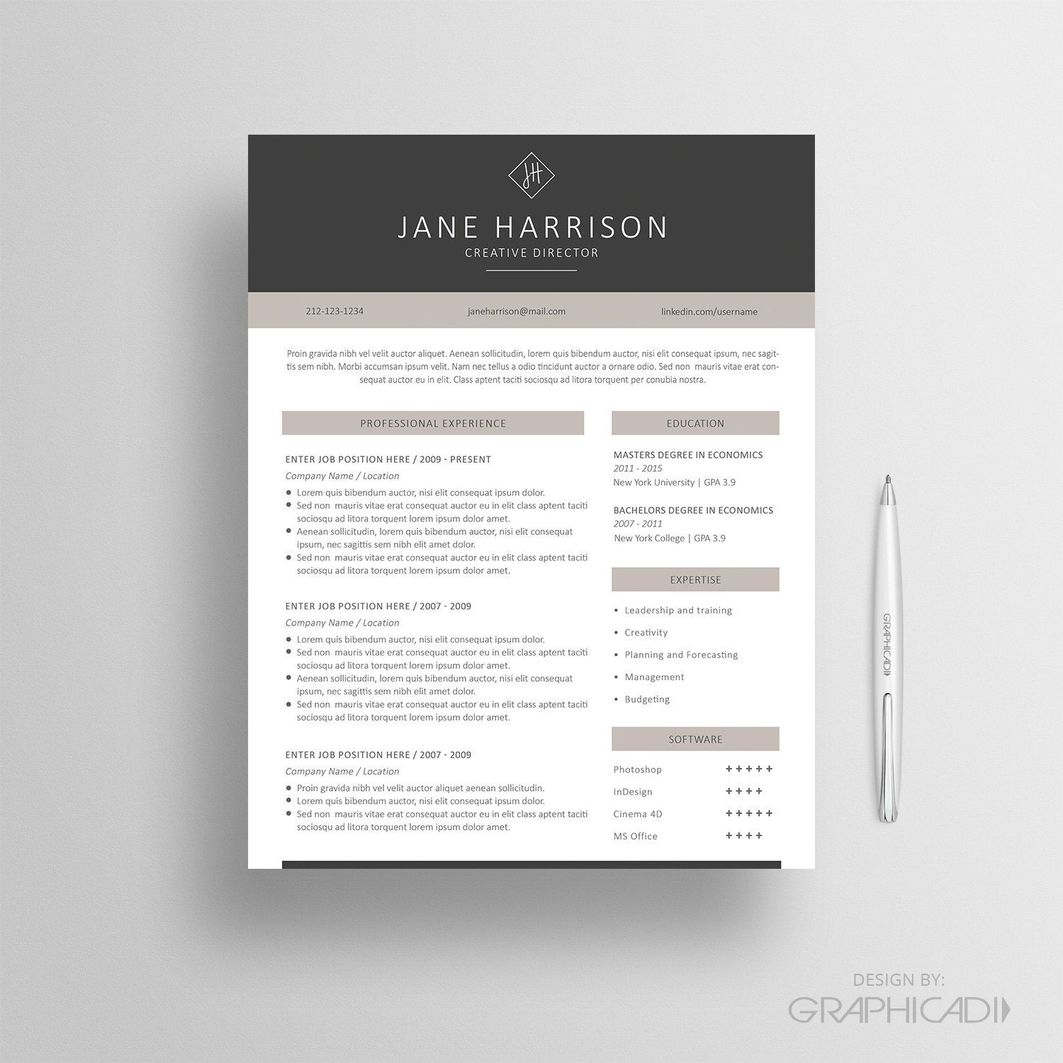 2 Page Resume Template, Cover Letter and Reference Page