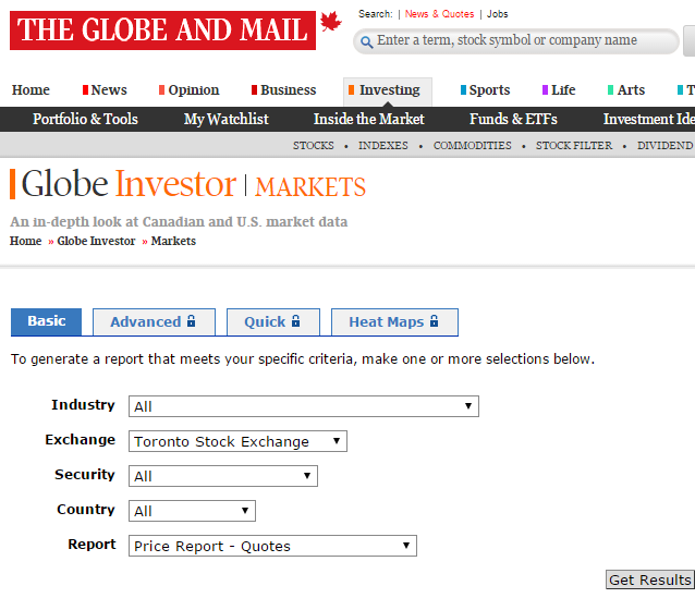 Globe And Mail Canadian Stock Screener Resources Pinterest