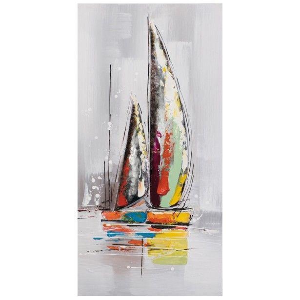 Marine tableau bateaux grande voile verticale 40x80 bateau pinterest bateaux peinture et - Tableau mer moderne ...