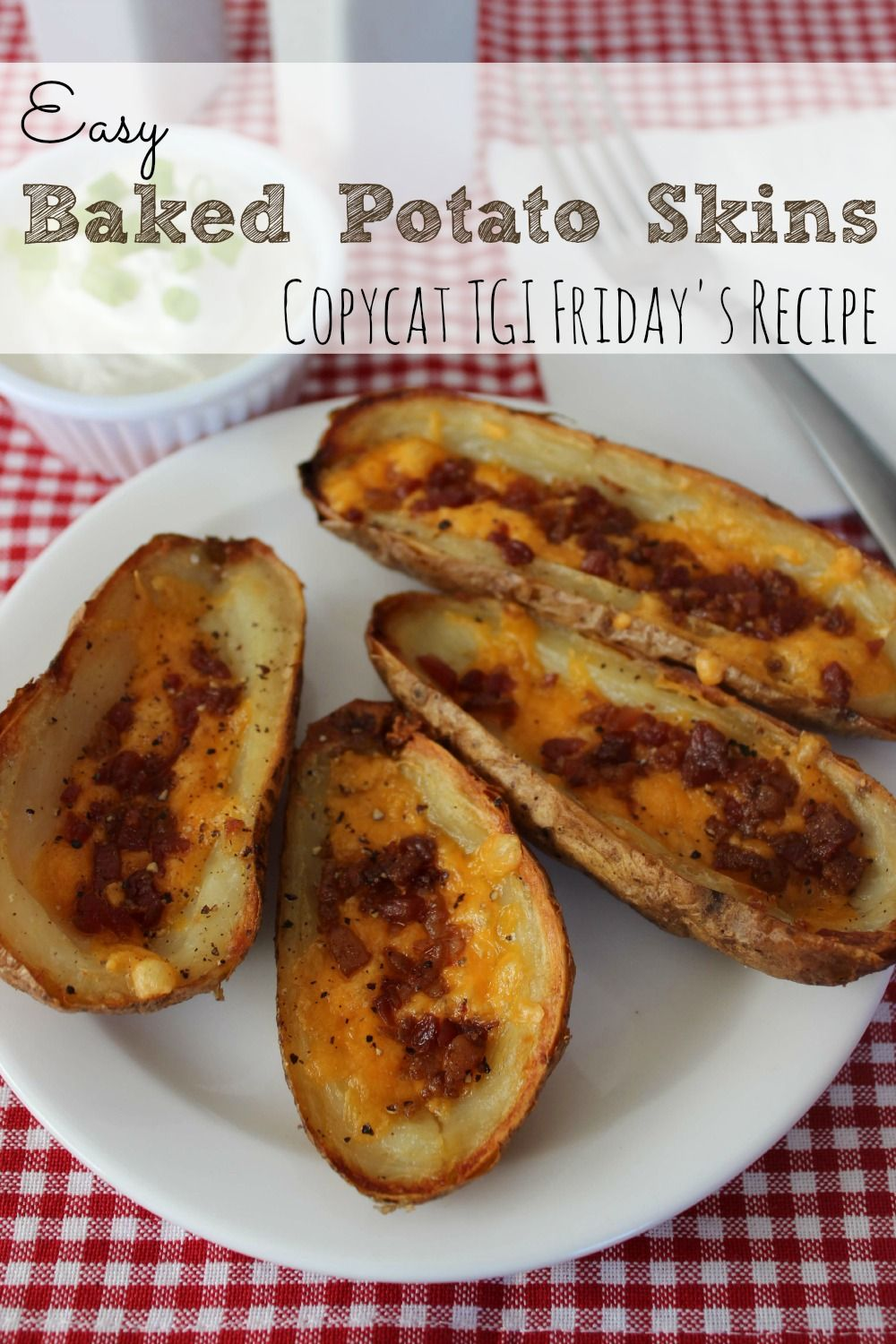 We love potato skins, but most restaurants fry them first, which isn't very healthy.  This baked potato skins recipe rivals any you can find in a restaurant