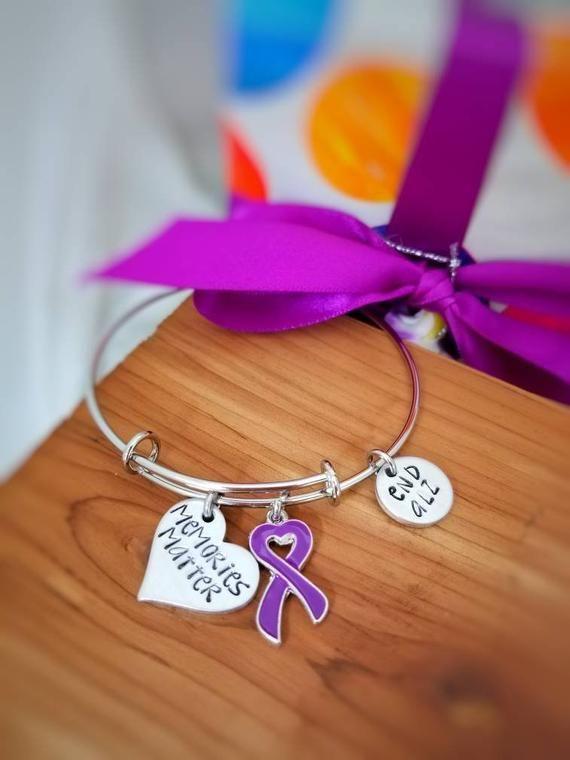 ff50f5d987b Alzheimers Jewelry - Alzheimers Bracelet - Memories Matter - Purple Ribbon  - ENDALZ - Dementia Aware