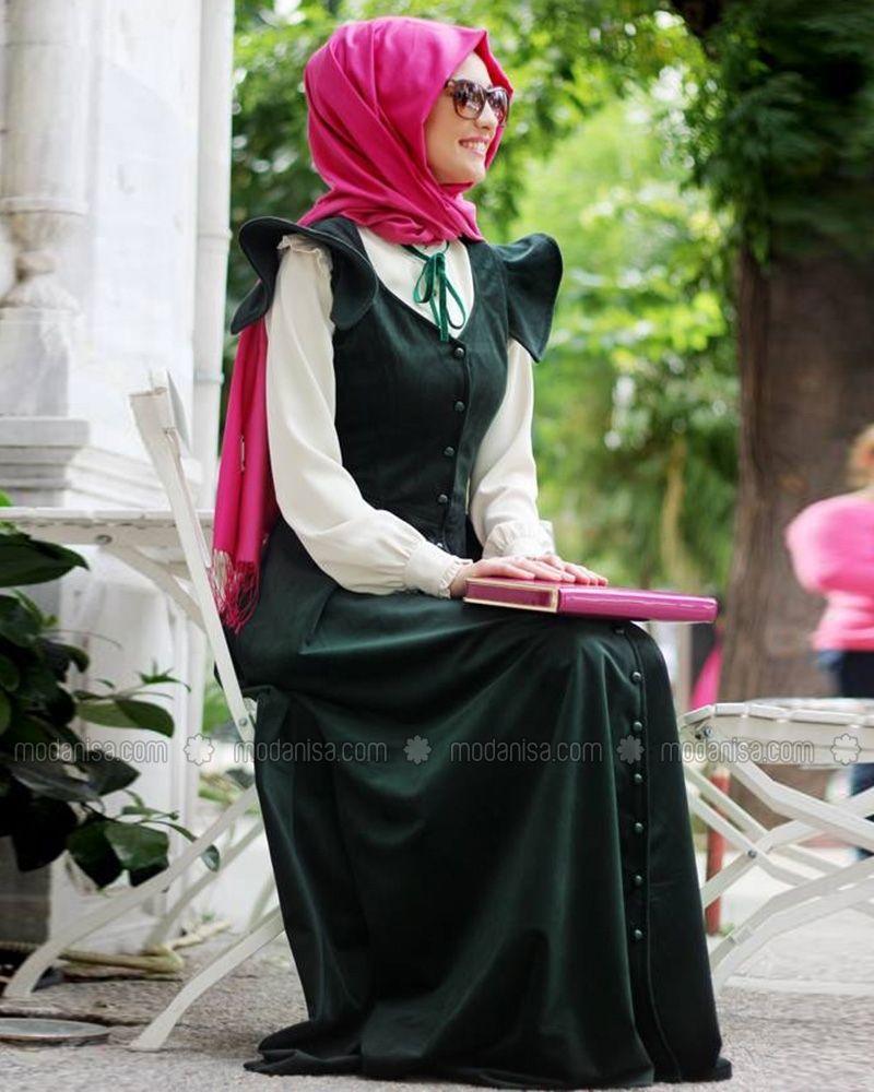 1642de874e50a Prenses Kadife Elbise - Zümrüt - Gamze Polat | hijab style | Elbise ...