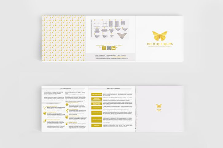 We have developed a corporative image in line with the service that it is offered: neuropsychology and health psychology consultation. The butterfly represents the need for change and greater freedom and also courage. The development of this element with the origami technique represents the challenge of creating an item with paper, very common in this type of consultations.