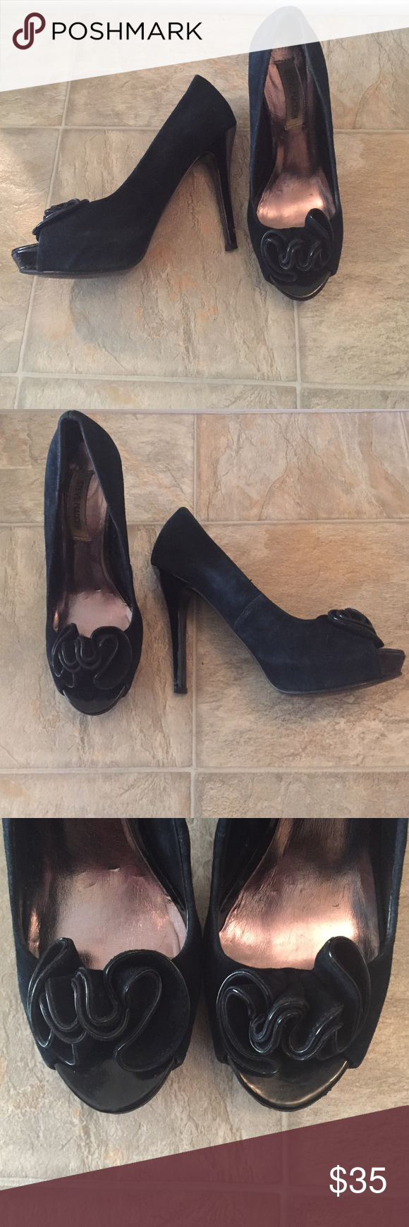 Black Velvet High Heels Black Velvet High Heels with a fun design on the open peep toe. Size 6. Good Condition. No Trades. Steve Madden Shoes Heels