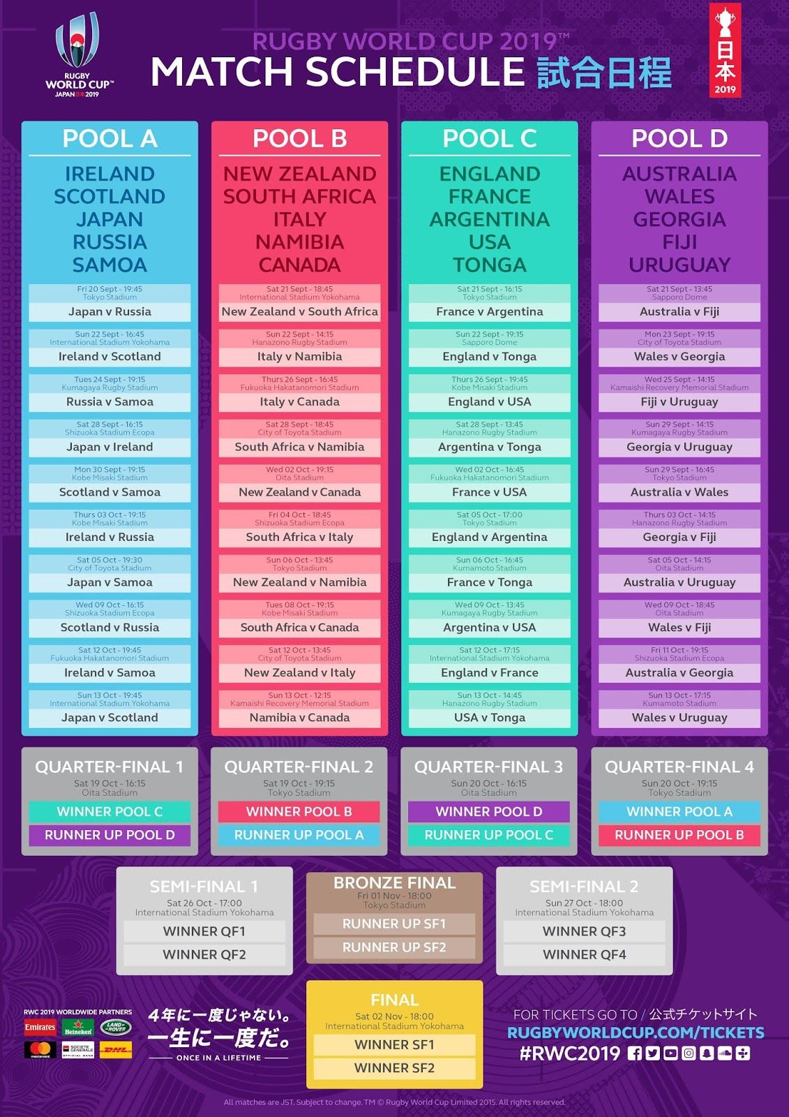 Rugby World Cup 2019 Rwc Match Schedule Japan 2019 Rwc2019 World Cup Fixtures World Cup Match World Cup Schedule
