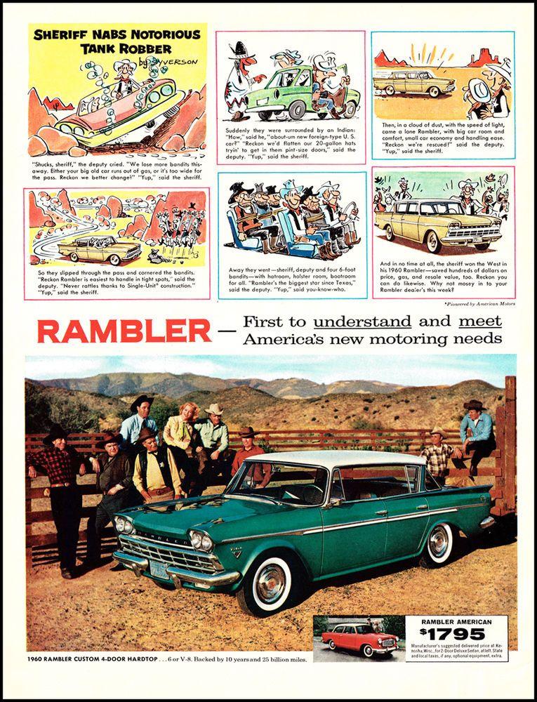 1960 Vintage Ad Rambler Custom 4-Door Hardtop Original Print Classic ...
