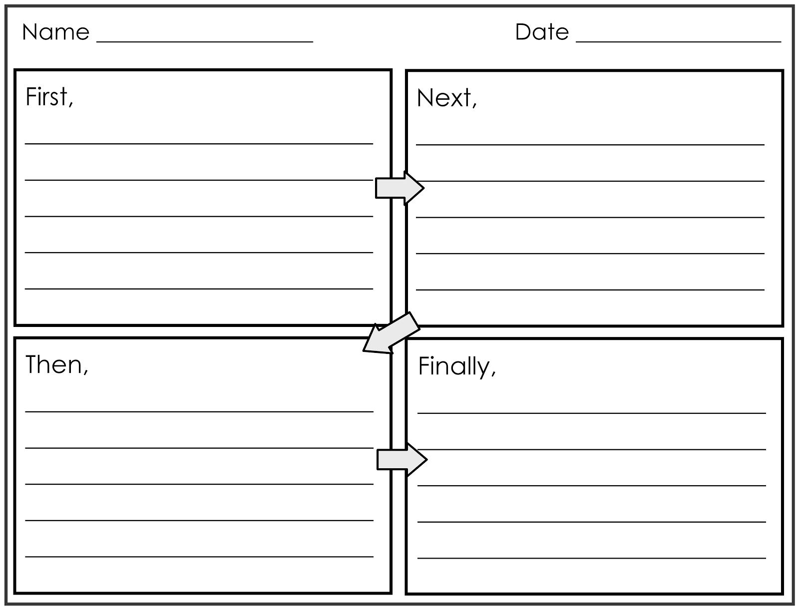 Four Square Writing Template Printable  Nd And St Grade Smarty