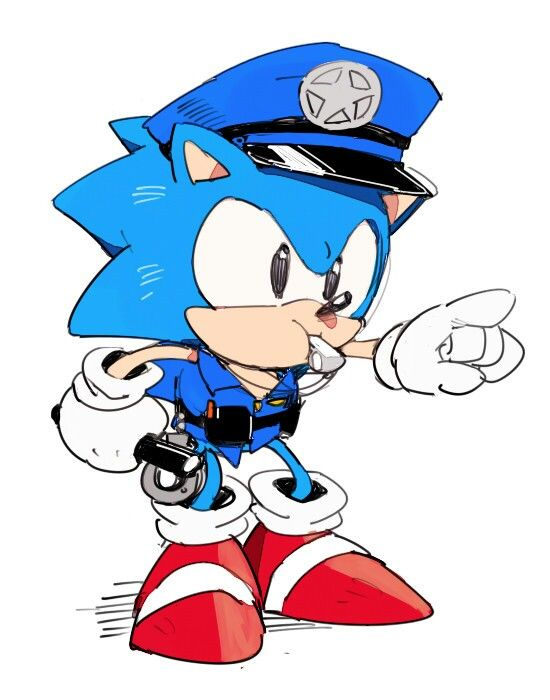 Classic Sonic As A Police So Cute Sonic The Hedgehog Sonic Classic Sonic
